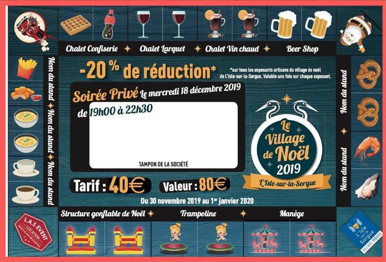 Carte privilège du marché de Noël à L'Isle-sur-La-Sorgue